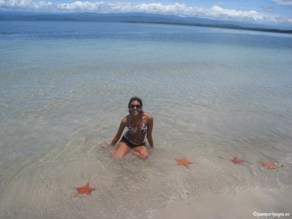 Girl in ocean surrounded by starfish