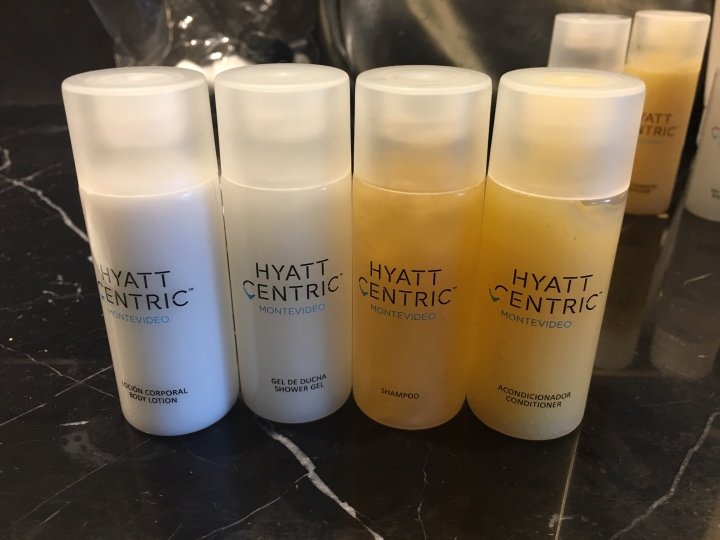 Hyatt-Centric-Montevideo-toiletries-shampoo-conditioner-lotion-shower-gel-bathroom-hotel
