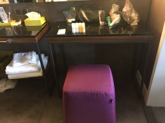 Nice to have an ottoman in the bathroom as well, to sit and do hair and makeup comfortably.