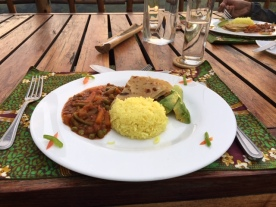 Chapati, sabzi and Indian inspired rice at Kyuninga