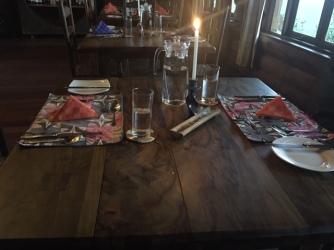 Place settings at the restaurant at Kyuninga